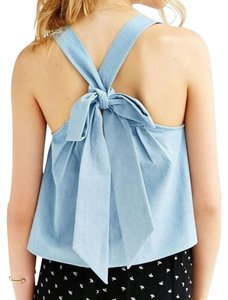 Urban Outfitters Bow Denim Flirty Casual Top blue
