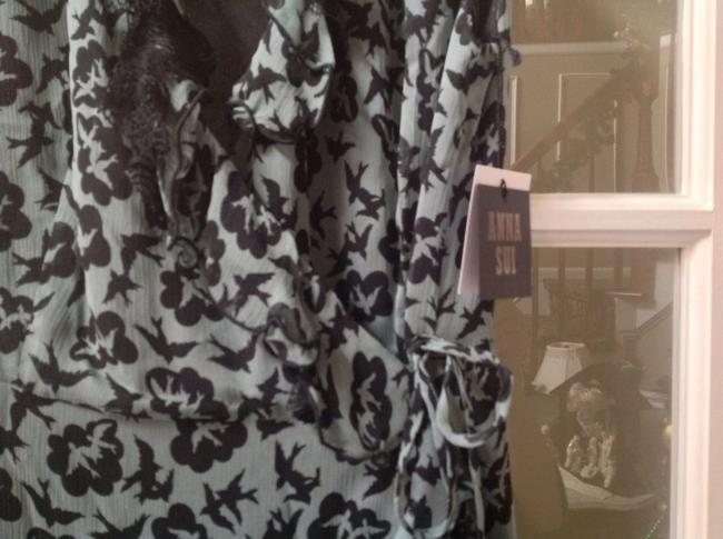 Anna Sui Doves Print Silk Wrap Dress