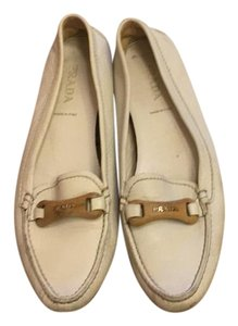 Prada Loafers Leather White Flats