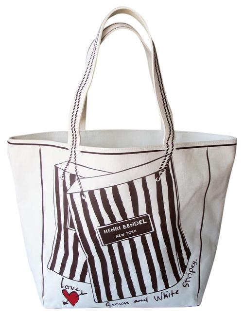 Item - Love Of Shopping Brown and White Stripes Large Tote Ivory Canvas Beach Bag