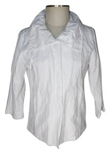 Chico's Shimmery Metallic Snap Front white Jacket
