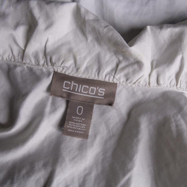 Chico's Shimmery Metallic Snap Front white Jacket Image 1