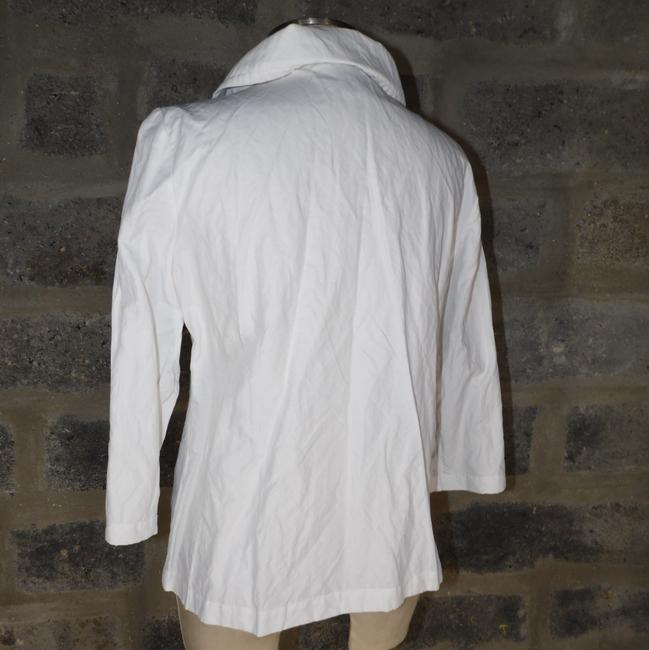 Chico's Shimmery Metallic Snap Front white Jacket Image 3