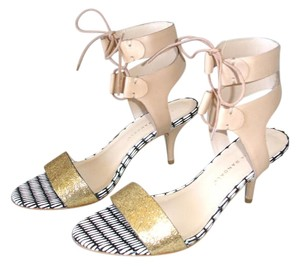 Loeffler Randall Beige Nude Ankle Tie Lace-up gold/buff Sandals