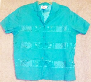 La Rea Collection Padded Buttoned Linen Button Down Shirt Turquoise
