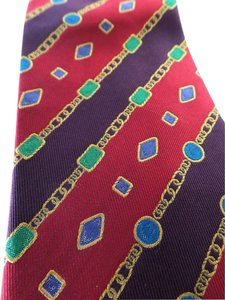 Chanel Vintage CHANEL Silk Multi-color Gems Gold Chain Tie
