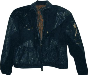 GIII Leather 80s Suede Black with multi-colored designs Leather Jacket