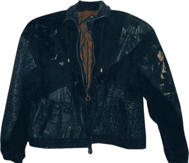 GIII 80s Suede Black with multi-colored designs Leather Jacket