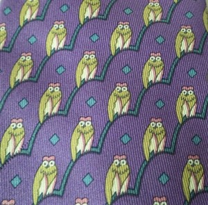 Hermès Vintage Hermes Purple Owls Tie Made in france