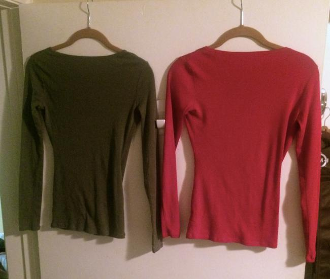 Victoria's Secret Casual Comfortable Longsleeve V-neck T Shirt Orange & Green