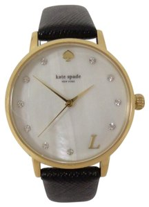 Kate Spade Kate Spade Metro Grand L Monogram MOP Dial Gold Black Leather Watch