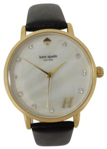 Kate Spade Kate Spade NY Women's Metro Grand H Monogram MOP Dial Gold tone Black Leather Watch NEW! $195