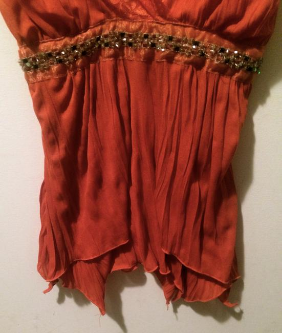 Other Sweetheart Embellished Empire Waist Sparkle Flowy Date Night Party Top Orange