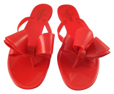 Valentino Rockstud Rubber Jelly Bow Pvc Thong Flip Flop 35