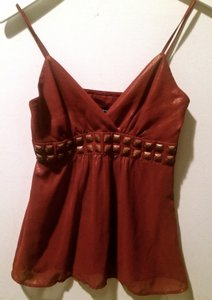 Express Empire Waist Flowy Embellished Date Night Party Metallic Hardware Top Dark Orange