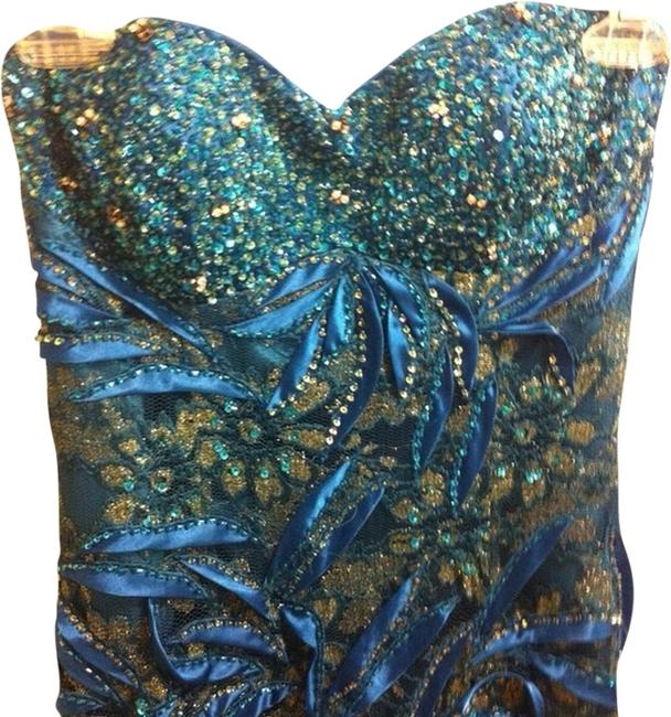 Item - Teal / Gold A184 Long Formal Dress Size 4 (S)