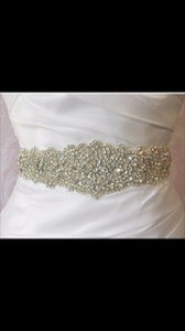 Mori Lee Crystal On Ivory Belt Sash
