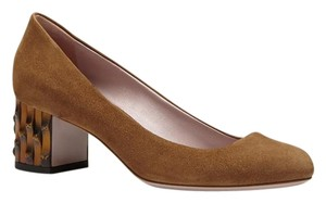 Gucci Dahlia 338758 New Acero Brown Pumps