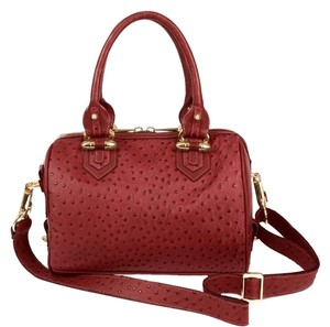 CC SKYE Ostrich Gold Hardware Leather Satchel in Merlot Red