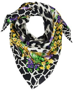 Versace Versace Grey Floral Safari Purple 100% Silk Scarf
