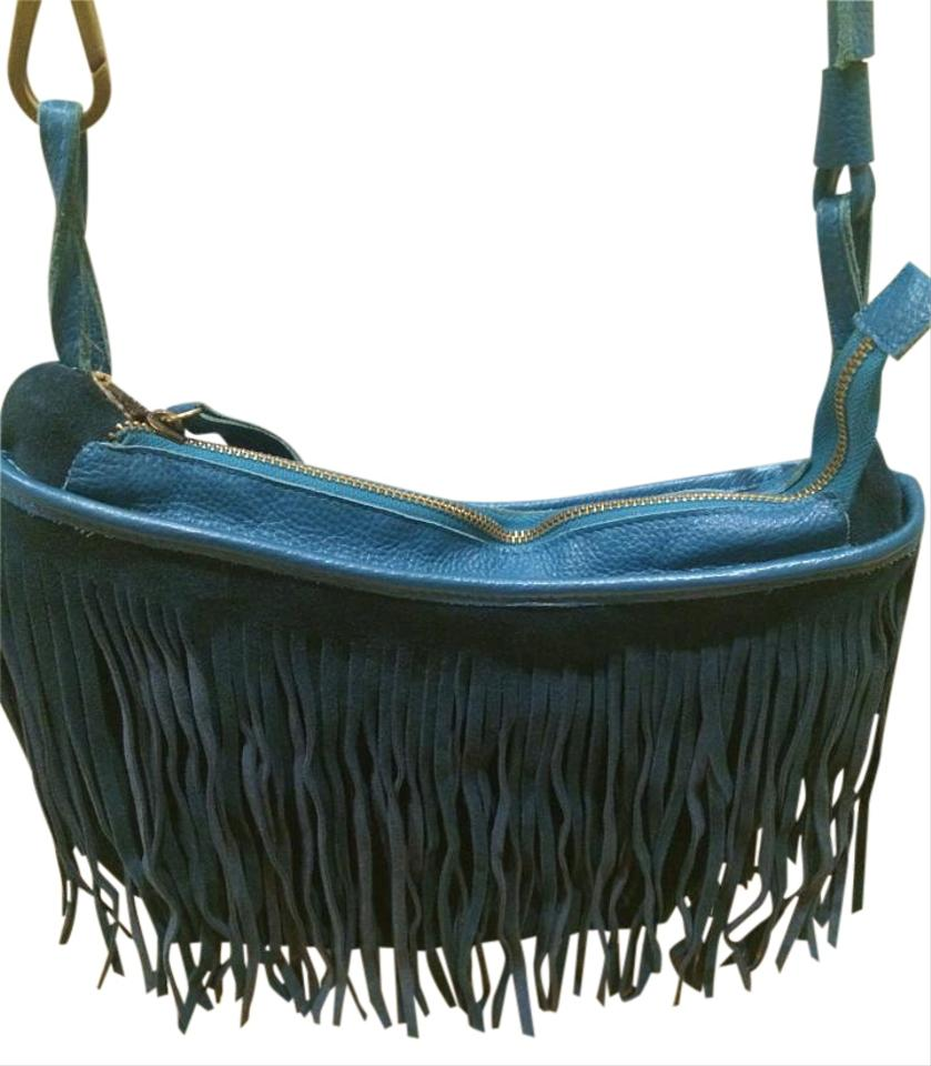 Free People Cheyenne Fringe Teal Suede Cross Body Bag - Tradesy 8347b018757ea
