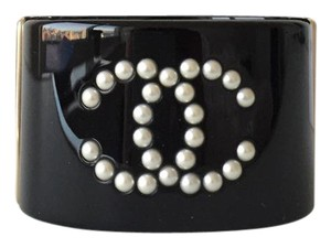Chanel Chanel Black Cuff with White Pearl CC Signature