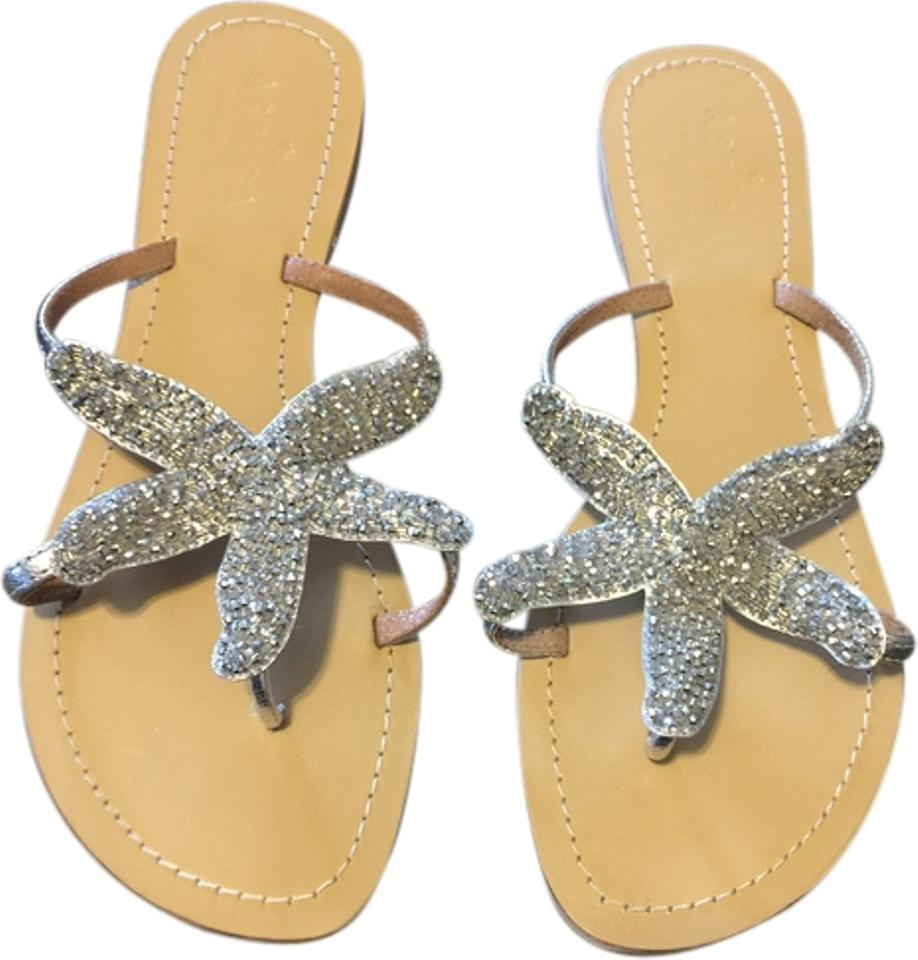 dae5734505a0 Aspiga Beach Wedding Beaded Starfish Unique silver Sandals Image 0 ...