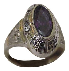 Other Vintage ladies 10k White Gold Westlake Financial 5 Years Excellence Diamond Amethyst Ornate Ring