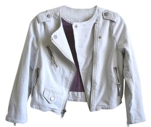 Gap Moto Motocycle Cropped Biker Moto grey white Jacket