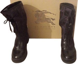 Burberry Sheeplining Waterproof Comfortable Dark Purple / Black Boots