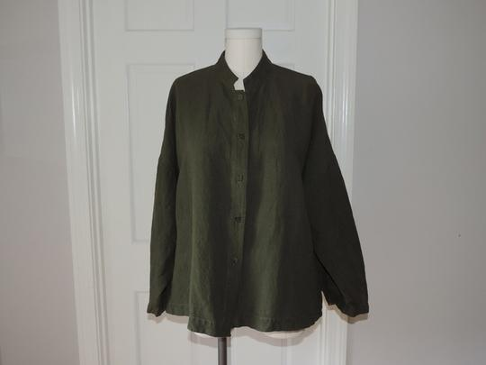 802702a8b9 80%OFF Eileen Fisher Lagenlook Washable Linen Rayon Army Green Jacket