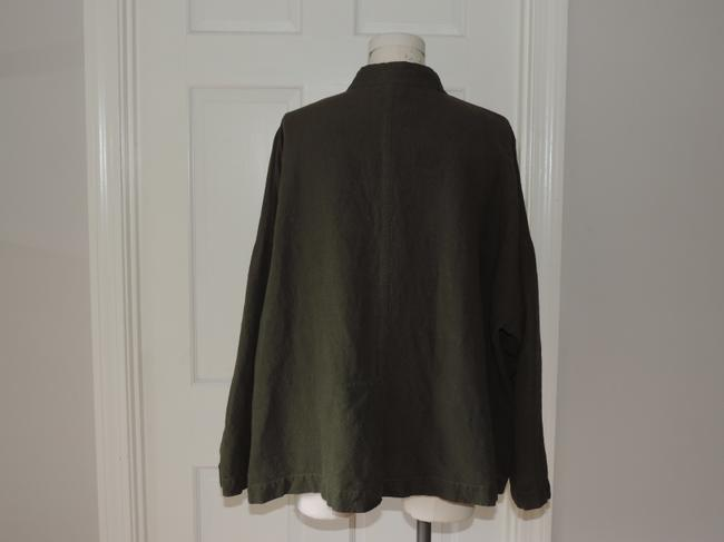 Eileen Fisher Lagenlook Washable Linen Rayon army green Jacket
