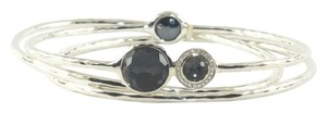 Ippolita Ippolita Sterling Silver Hematite Diamond Bangle Trio .925 Grey Station Bracelet