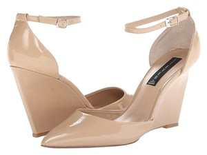 Steve Madden Patent Nude Pump Heels Nude/Tan with brown wedge Wedges