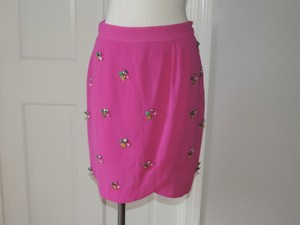 Anthropologie Fei Embellish Faux Tulip Wrap Skirt fuchsia