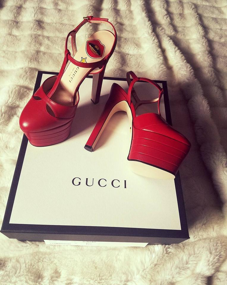 b75e23d29 Gucci Red Angel Leather Platforms Size US 6 - Tradesy