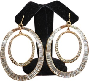 A.B.S. by Allen Schwartz Gold Emerald Cut Evening Circle Dangle XL Rhinestone Earrings