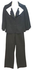 Escada ESCADA WHITE LACE TRIM BLACK COTTON BLEND PANT SUIT 44