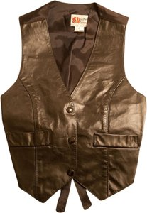 S&U Leather Biker Vest Top Black