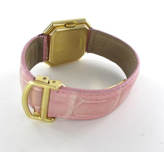 Cartier CARTIER 18KT SOLID YELLOW GOLD PINK LEATHER WATCH PARIS SQUARE HEXAGONAL LADIES