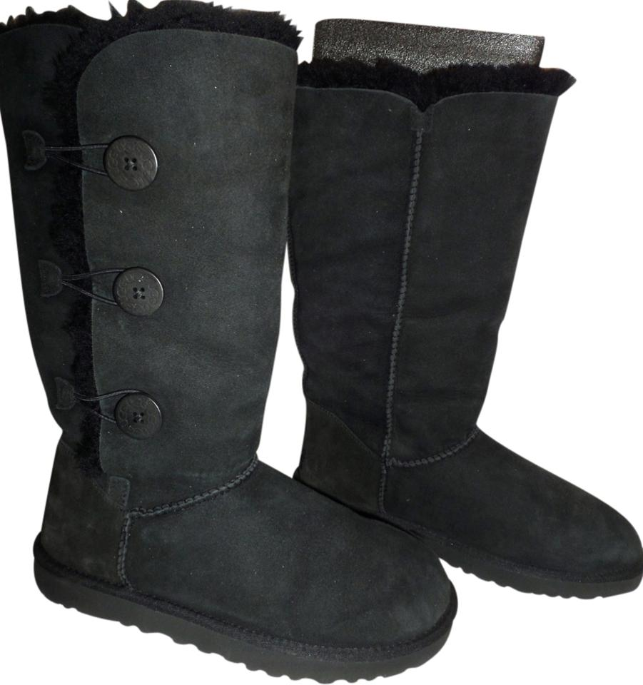 fbe780c1a20 UGG Australia Black Uggs 1873 Bailey Button Triplet Triple Suede Leather  Tall Shearling Fur Boots/Booties Size US 10 Regular (M, B)
