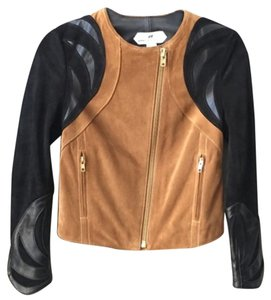 H&M Moto Suede Brown / Black Leather Jacket