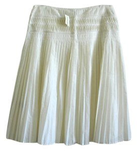 Club Monaco Pleated White Pleated Skirt ivory