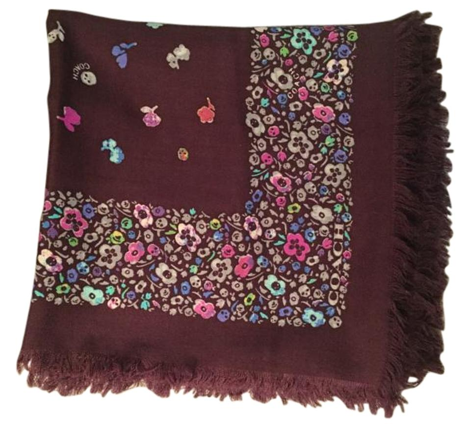 76f65da2013 Coach Floral skulls wool foulard oversize square scarf 100% wool Image 0 ...