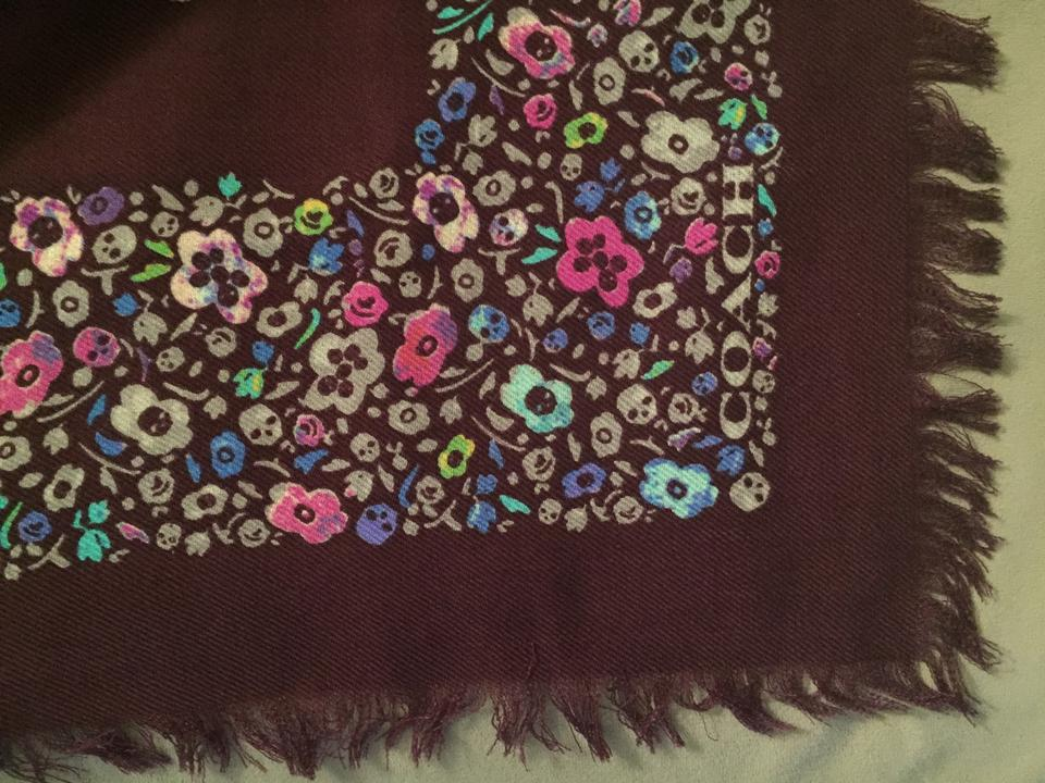 d3c97177998 Coach Plum W  Printed Skulls Floral Wool Foulard Oversize Square ...