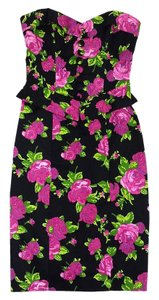 Betsey Johnson short dress Black Fuchsia Floral Peplum on Tradesy