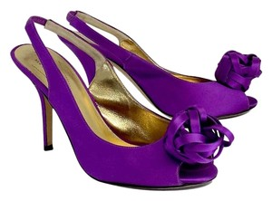 Kate Spade Purple Satin Peep Toe Adorned Sandals