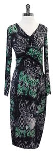 Lafayette 148 New York Navy Grey Mint Aztec Dress