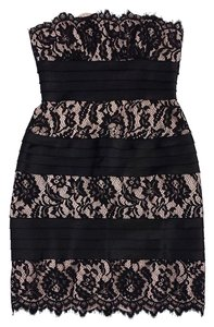 BCBGMAXAZRIA short dress Black Lace Tiered Strapless on Tradesy