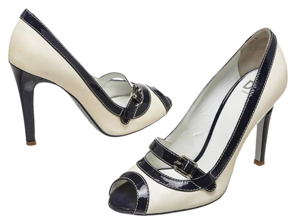 Dolce&Gabbana White/Blue Dolce & Gabbana Leather and Navy 37.5) Patent Leather Trim Peep 37.5) Navy Pumps 2c072a